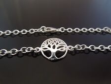 "Sterling Silver Bracelet Or Ankle Chain Anklet Tree Of Life 7"" 8"" 9"" 10"" 11"" 12"""