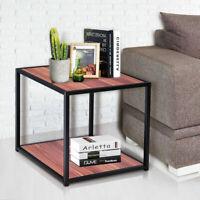 "20"" Metal Square Side/End Table Sofa Coffee Tea Stand Bottom W/2 Tier Shelf"