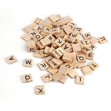 100 Wooden Alphet Scrble Tiles Black Letters & Numbers For Crafts Wood EVF5