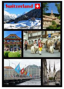 SWITZERLAND - SOUVENIR NOVELTY FRIDGE MAGNET - BRAND NEW - SIGHTS / FLAG / GIFTS