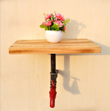 Retro Industrial Iron Pipe Wooden Storage Shelf Bracket Wall Mount Shelf Rack