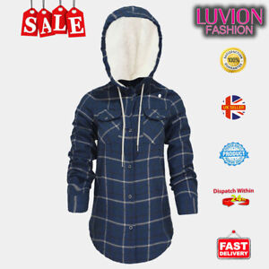 High Quality women's Plaid Shirt Jacket with Sherpa-Lined Hood Flannel 4 Colours