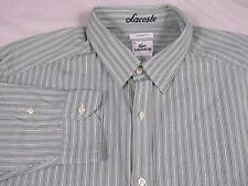 LACOSTE Modern Fit DRESS SHIRT BUTTON DOWN Sz 46 3XL XXXL Green White STRIPED