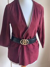 Gorgeous MANGO Burgundy Suede Leather Casual Jacket - XS