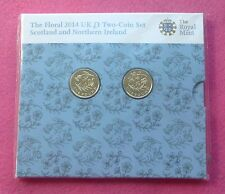2014 FLORAL 2 COIN SET  SCOTLAND + NORTHERN IRELAND BU NEW AND SEALED