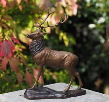 Bronzefigur, Hirsch auf Felsen, Dekoration für Haus & Garten *