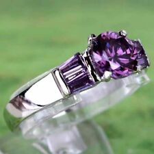 Ring size S 925 Stamped Silver Amethyst & Diamonds Cluster Summer Gift