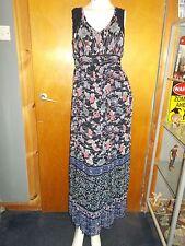 """M&S Per Una Sleeveless Butterfly/Floral Print Maxi Dress 8 L55"""" Navy Mix BNWT"""