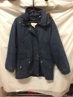 VTG London Fog Mens Blue Winter Coat Faux Fur Lined Hood Sz L Reg