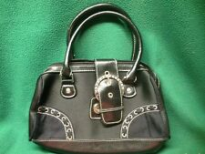 Black Satin w/ Silver Rhinestone Belt Buckle & Suede Accents Handbag Purse Small