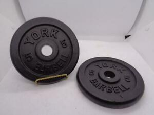 """Vintage York Barbell Standard 1"""" Dia Hole 2x 5lb Plates Weights 10lbs Total"""