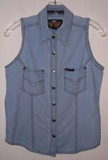 Vintage Women's Harley Davidson Snap Front Sleeveless Denim Shirt Sm