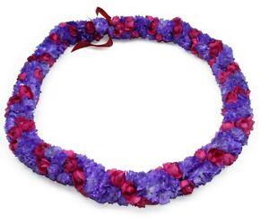 Hawaiian Lei Party Luau Haku Tuberose Elastic Purple Red Alii Lei Flower