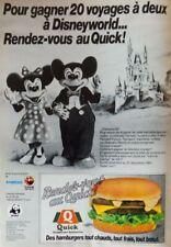 Publicité de presse (clipping) - restaurant Quick - Mickey