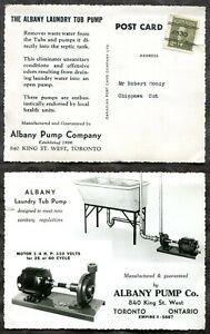 p862 - TORONTO 1950s Precancel on Albany Pump Co ADVERTISING Postcard