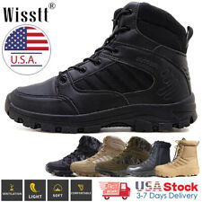 Men's Waterproof Combat Military Tactical Work Boots Ankle Hiking Boots Zipper