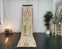 Moroccan Boujad Handmade Vintage Runner 2'2x10'7 Abstract White Berber Wool Rug