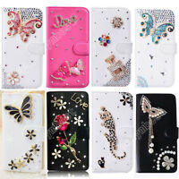 Stylish Lady Flip Wallet Case Crystal Bling Leather Stand Cover Skin For Phone