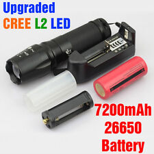 1200LM CREE XM-L2 LED Rechargeable Zoomable Flashlight Torch w/ 26650 Battery