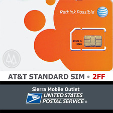 At&T Mini - Standard 2Ff Sim Card • Gsm 4Glte • New Prepaid GoPhone or Contract