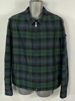 MENS PEUTEREY SIZE LARGE GREEN/NAVY CHECK ZIP UP LIGHTWEIGHT CASUAL JACKET COAT
