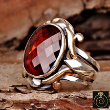 Red Quartz Ruby Stone Men's Cocktail Ring Silver Empire Protection Magic Jewelry