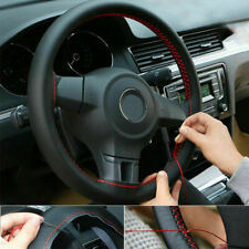DIY PU Leather Steering Wheel Cover 15'' inch Black + RED Line w/Needles Thread