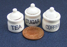 1:12 Scale Set Of 3 Ceramic Storage Containers Tumdee Dolls House Kitchen