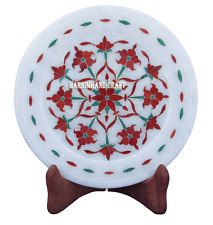 "7"" White Marble Round Plate Carnelian Floral Inlaid Decor Art Kitchen Gift H2768"
