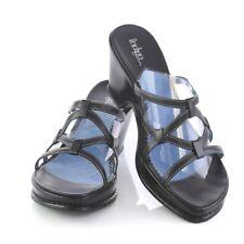 Clarks Indigo Black Leather Strappy Sandals Slides Wedge Heels Womens 7.5 M