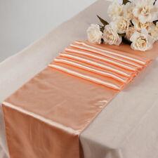 "10PC 12"" x 108"" Satin Table Runner Sash Bow Wedding Venue Hall Decoration- Peach"