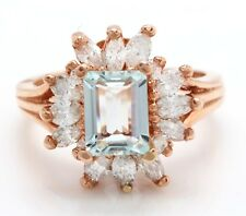 2.69 Carat Natural Blue Aquamarine and Diamonds in 14K Solid Rose Gold Ring