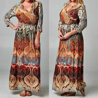 Plus Dress Maxi Wrap 3/4 Sleeve Bohemian Paisley Long 1X 2X 3X Rust Casual
