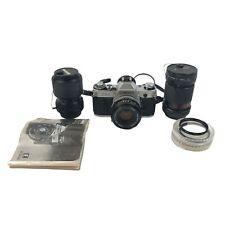 New ListingCanon Ae-1 Silver 35mm Slr Film Camera Bundle Fd 50mm f/1.8 Lens + Macro Lenses