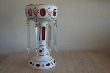 Vintage Bohemian Czech White overlay cut to Ruby cased Lustre with crystals (1)