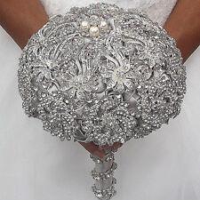 Luxury Bride Hand Flower Silver Rhinestone Brooch Pearls Decor Wedding Bouquet