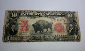 1901 USA $10 DOLLAR RED SEAL BISON NOTE UNITED STATES CIRCULATED BANKNOTE