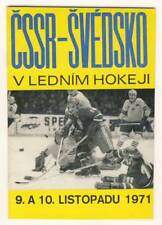1971 CZECHOSLOVAKIA vs. SWEDEN Ice Hockey PROGRAM Programme