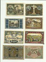 Notgeld Fallersleben Hannover Brandenburg Glogau Groß Salze Lot 8 pcs Collection