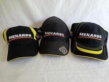 Menards Baseball Cap Lot of 3 PAUL MENARD 98 15 NASCAR Racing Black Yellow