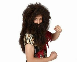Hyfive Caveman Wig and Beard Fancy Dress Party Costume - Brown