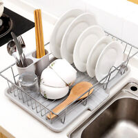 uk Large Dish Drainer Metal Wire Cutlery Draining Holder Plate Rack Kitchen Sink