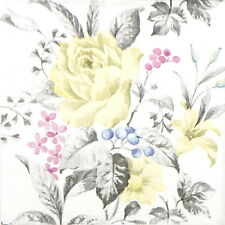4x Paper Napkins for Decoupage Decopatch Vintage yellow Rose