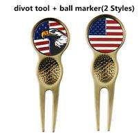 Magnetic Ball Marker Golf Beltclip Divot Repair Tool American USA Flag Eagle