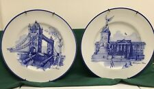 Set of 2 Vintage Blue/White Noritake Ireland Plates For Wall