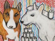 Aceo Bull Terrier Art Print Signed Artist Ksams 2.5 x 3.5 Hoarding Toilet Paper