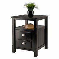 Elegant Wood Nightstand Bed Side Table W/ Storage Small Cabinet Bedroom Black