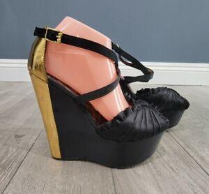 BETSEY JOHNSON Brritt black satin platform wedge heels gold back peep toe 9M