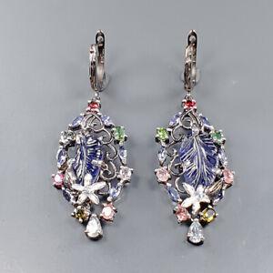 Vintage Iolite Earrings Silver 925 Sterling   /E52040