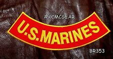 U.S. MARINES Yellow on Red Back Patch Bottom Rocker for Biker Veteran Vest 10""